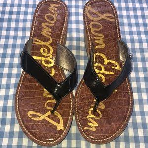 Sam Edelman Cork Wedge Black Patent Sandal Size 8